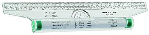 LINEX 100411018 Roll-Lineal 30 cm lang 180 Grad Winkelmesser, Einteilung in mm und Zoll