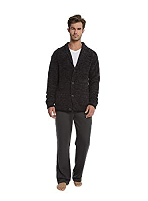 Barefoot Dreams CozyChic Men's Shawl Collar Cardigan, Menswear Fashion Sweater Carbon Black by Barefoot Dreams
