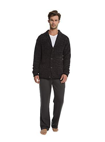 Barefoot Dreams CozyChic Men's Shawl Collar Cardigan, Menswear Fashion Sweater Carbon Black