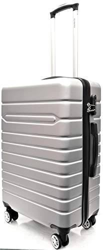 24' Medium Super Lightweight Durable ABS Hardshell Hold Luggage Suitcases Travel Bags Trolley Case Hold Check in Luggage with 4 Wheels Built-in 3 Digit Combination Lock (24' Medium, Silver)