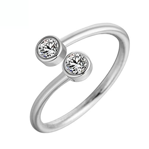 Anillo S925 con doble diamante incrustado, anillo ajustable abierto para ceremonia