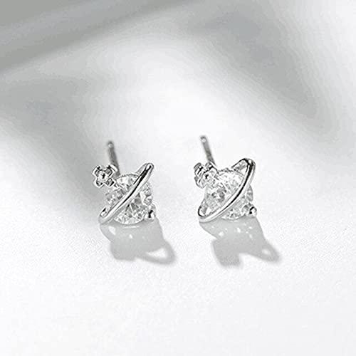 Landia Moda elegante 14 K real oro plateado pendientes para las mujeres AAA Top brillante Zircon S925 plata aguja Stud partido regalo joyería