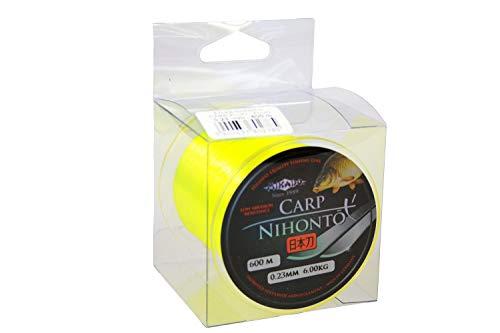 Nihoto Carp - Fil de pêche à la carpe - Jaune fluo - 600 m - Fil de pêche très lisse - Disponible de 0,23 à Ø 0,40 mm - Charge maximale : 13,80 kg