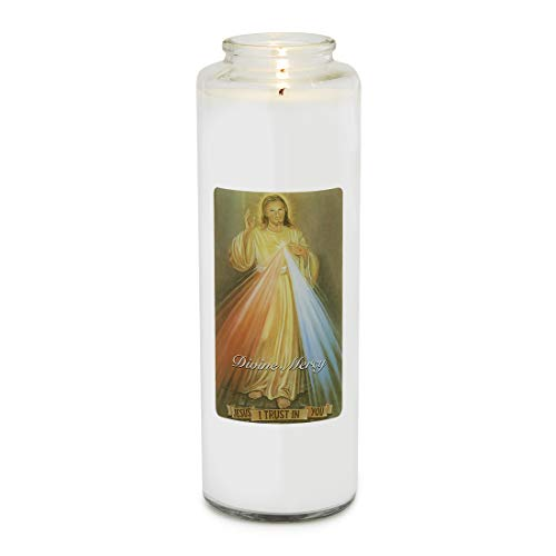 Root Candles 7-Day Devotional Meditation Glass Candle, Clear - Divine Mercy