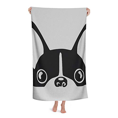 YeapLife Bath Towel Lying French Bulldog 100% Polyester No Fading   Gym, Swimming, Yoga, Travel   Towel for Bathroom   Size 31.4 X 51 Inches