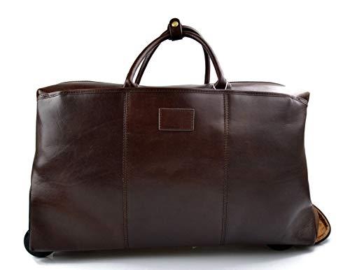 Leder Troller Reisetasche Manner Damen mit Griff Leder weekend tasche reisetasche sporttasche mit rollen leder pilot tasche dunkelbraun