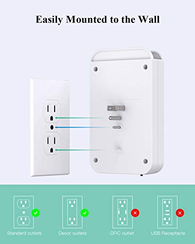 Multi Plug Outlet, Surge Protector, 6 Outlet Extender with 3 USB(1-USB C) and Night Light, Wall Plug Adapter Expander for Home, Dorm Room, Office- 490J