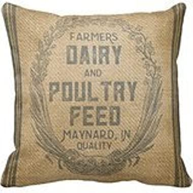 Vintage Feed Sack' Polyester Pillow Case 16 x 16 Inches