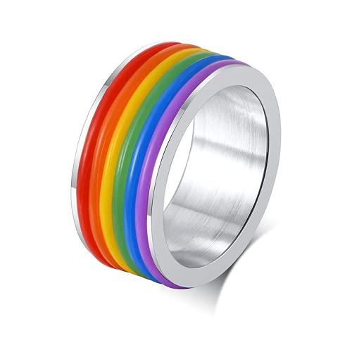 USUASI Moda 9mm de ancho titanio accesorios de acero arco iris homosexual gay anillo de boda estilo PR-001 negro
