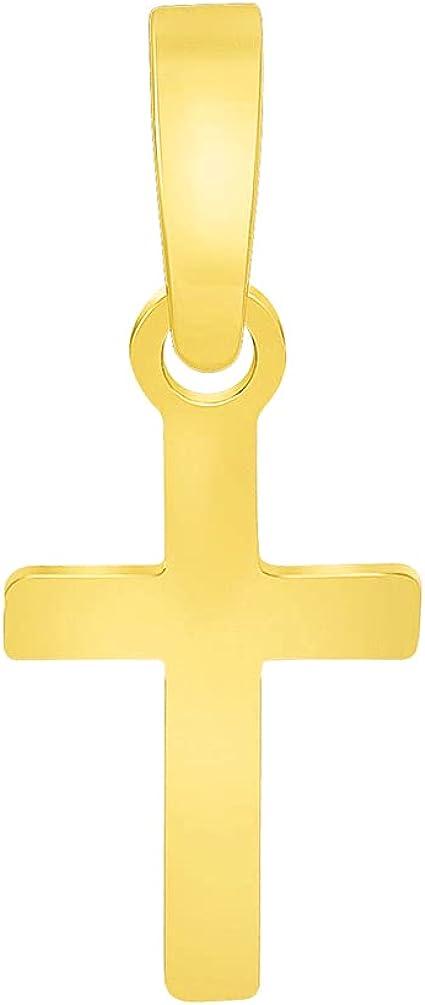 Solid 14k Yellow Gold Tiny Dainty Classic Plain Religious Cross Charm Pendant