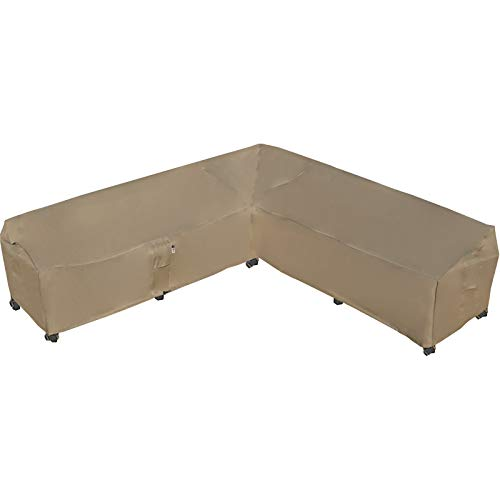 Garden Furniture Cover, Heavy Duty Patio Furniture Covers Waterproof 600D Oxford Sectional Couch Rattan Corner Sofa Table Chair Protection, V Shaped Lawn Winter Protector, 292 x 292CM - Desert Khaki