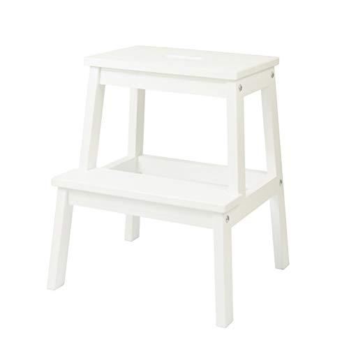 XITER Stehleitern Hocker Multifunktions-2-Stufen-Leiter aus Holz Leichter Kindersitz für Erwachsene (Farbe : Weiß)