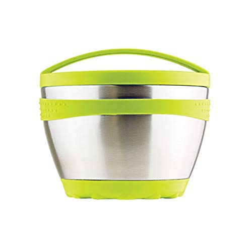 Kid Basix Safe Bowl Reusable Stainless Steel Lunch Container for Adults Thermos for Hot Cold Food Storage Dishwasher Safe 16oz Lime