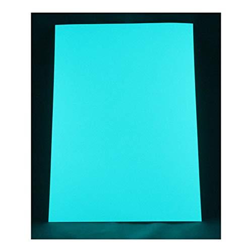 lumentics Premium Leuchtaufkleber BlauGrün A4 - Im Dunkel leuchtende Leuchtfolie. Nachleuchtende UV Farbfolie zum basteln und Bedrucken. Klebefolie für Wand-Tattoo, Wand-Aufkleber und Wand-Sticker.