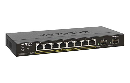 NETGEAR 10-Port PoE Gigabit Ethernet Smart Switch (GS310TP) - Managed with 8 x PoE+ @ 55W, 2 x 1G SFP, Desktop, Fanless… 1 ETHERNET PORT CONFIGURATION 8 Gigabit ports POWER-OVER-ETHERNET 8 PoE+ ports with 55 Watts total power budget FLEXIBILITY FROM UPLINK PORTS 2 x 1G SFP ports