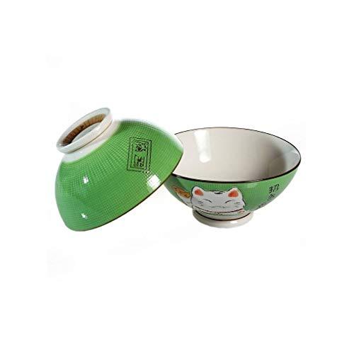 lachineuse 2 Bols à Soupe ou à Ramen - Vert - Motif Chat Maneki Neko