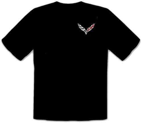 Chevrolet Corvette Bestickte T-Shirt super Premium-Qualität, 100% Baumwolle -4074-SCHWARZ (XL)