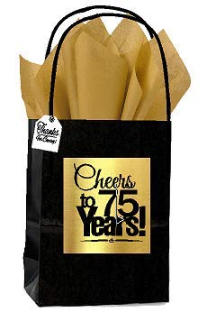 Black & Gold 75th Birthday/Anniversary Cheers Themed Small Party Favor Gift Bags with Tags -12pack