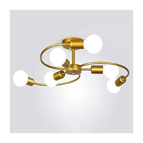 WFL plafondlamp, modern, eenvoudig, E27, warmwit licht, smeedijzer, woonkamer, decoratie, slaapkamer, studio, café, kleding, tent, plafondlampen, 6/8 koppen