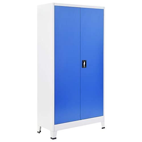 Festnight Armadio per Ufficio in Metallo 90x40x180 cm Grigio e Blu