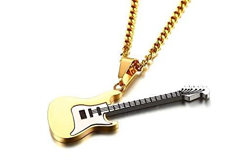 Collar Colgante Joyería Acero Inoxidable Color Dorado Guitarra Forma De Roca Hombres Cadena Colgante Collar Simple Hip-Hop Punk Fiesta Estilo Joyería De Moda Regalo