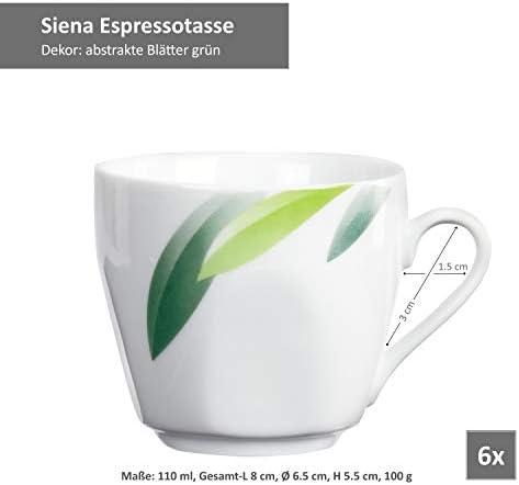 Beilagen 6er Set Kuchenteller Siena Porzellan Frühstück Dessert Blatt-Dekor