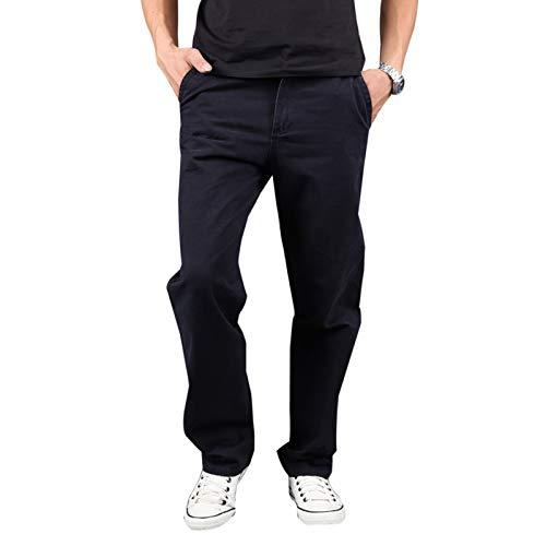 Elonglin Coton Cargo Pantalons Homme Style Militaire Pantalon de Travail Décontracté Noir Tour de Taille 30 inch