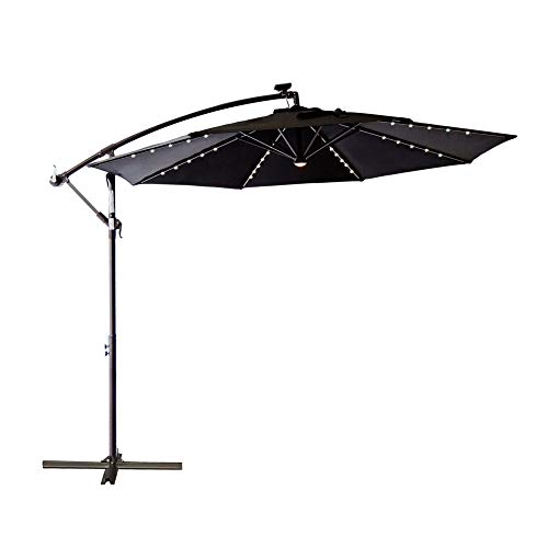 C-Hopetree 10 ft Offset Cantilever Outdoor Patio Umbrella with Solar LED Lights – Black