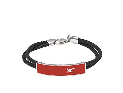 K JEWELS - Match B - Pulsera para hombre y mujer de plata 925, esmalte y silicona, longitud 22 cm, Sport Line Silver Red E Black