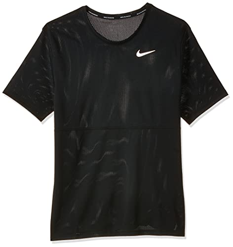 NIKE M Nk Breathe Run Top SS Camiseta de Manga Corta, Hombre, Black/Black/(Reflective silv) (c