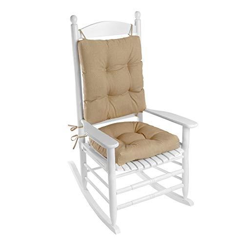 Klear Vu Indoor/Outdoor Overstuffed Rocking Chair Pad Cushion Set, 19' x 19', Husk Birch