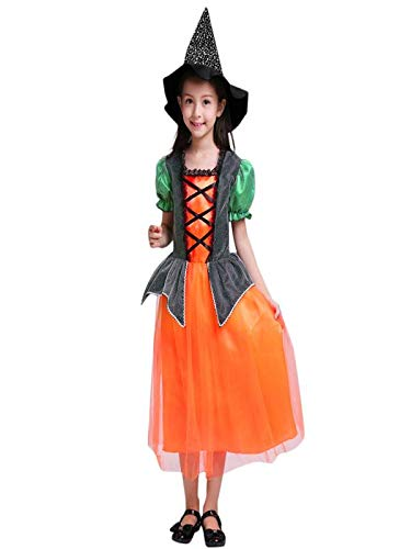 Blingko Kinderkostüme Kleinkind Kinder Baby Mädchen Halloween Kleidung Kleid Party Kleider + Hut + Tasche Outfits Kinderkürbis Styling Halloween Performance Kostüm Kostüm + Hut + Tasche Orange
