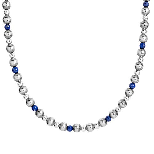 American West Sterling Silver Blue Lapis Gemstone Beaded Necklace 24 to 26 Inch