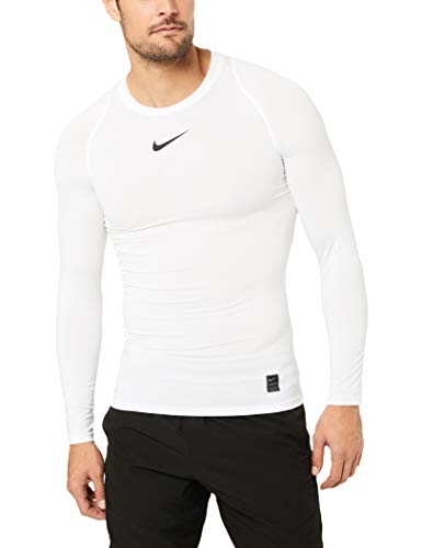 Nike Herren Pro Top Compression Crew Trainingsshirt, White/Black, M