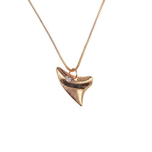 Gargantillas de diente de tiburón de Color dorado delicadas para mujer, collar con colgante minimalista, gargantilla de estilo veraniego, joyería Collar de la amistad Regalo de San Valentín