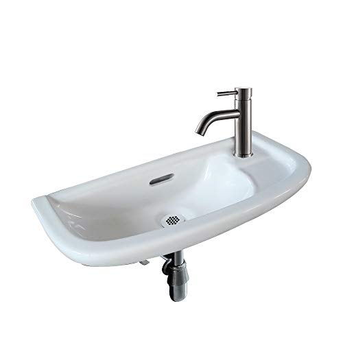 Fine Fixtures SmallWall Mounted Bathroom Sink, Single Faucet And Grid Style Drain Included (Satin Nicklecolor) Mounting hardware included.