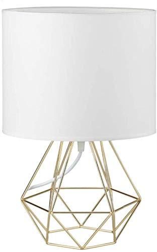 Vintage Tischleuchte - Frideko Moderne Tischlampe aus Metall mit Goldenem Lampenschirm Durchmesser 21cm Nachttischleuchte für Bar Pub Cafeteria Restaurant- Weiß