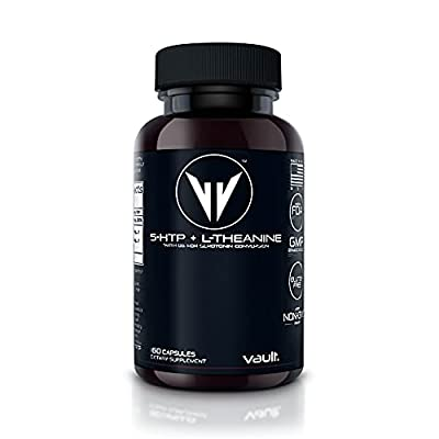 Vault 5-HTP + L-Theanine | Premium Stress Response - Cofactor B6 for Enhanced Serotonin Conversion | Promotes a Relaxed State of Focus & Concentration, Anxiety Relief & Mood Support