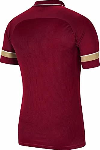NIKE, Dri-Fit Academy, Camisa Polo, Team Rojo/Blanco/Jersey Oro/Blanco, M, Hombre