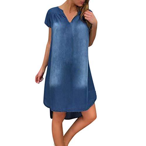 Damen Kleider Sommer Herbst V-Ausschnitt Lange Ärmel Strandkleid Freizeitkleid Jeanskleider Damen Stretch Boho Kleid Baumwolle Denim Bedruckt Partykleid Minikleid (EU:38, Blau C)
