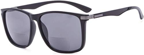 Eyekepper Große quadratische bifokale Sonnenbrille für Männer und Frauen (Schwarz Grau, 1.00)