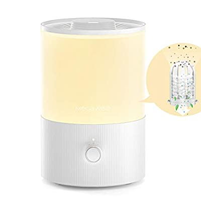 MEGAWISE 3.5L Humidifiers for Bedroom with Removable Demineralization Cartridge, 24dB 7-Color Night Light Ultrasonic Cool Mist Humidifier for Baby, Essential Oil Diffuser, Top-Refill Evaporator