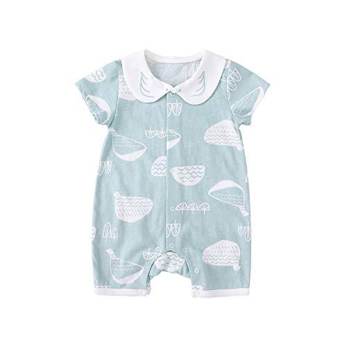 pureborn 半袖 ロンパース ベビー 夏服 前開き カバーオール 肩ボタン 萌え萌え 女の子 可愛い丸襟 バード柄 青 0-3ヶ月