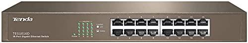 Tenda TEG1016D Desktop/Rack Mount Switch,16 Porte RJ45 Gigabit 10/100/1000 Mbps, Protezione Antifulmine Professionale, Plug & Play, Struttura in Acciaio