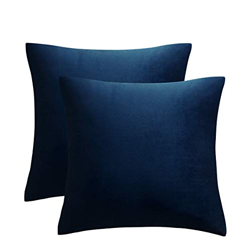 JUSPURBET Pack of 2,Velvet Decorative Throw Pillows Covers Cases for Couch Bed Sofa,Soild Color Soft Pillowcases,26x26 Inches,Navy Blue