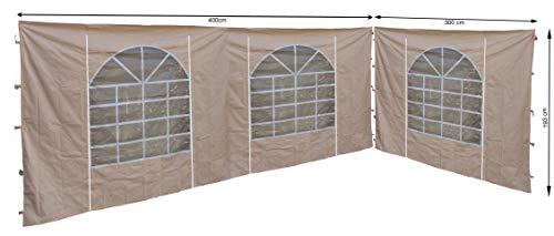 QUICK STAR 2 pannelli laterali con finestra in PVC, 300 x 193 cm/400 x 193 cm, per gazebo Sahara 3 x 4 m, parete laterale sabbia