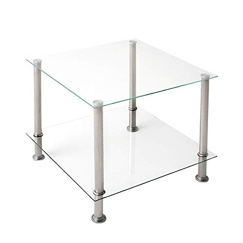 PALDIN Glass Coffee Table, 2-Tier Side End Table Modern Glass Shelves Night Table Display Stand Black/Clear Shelf Chrome Steel Frame (Clear)