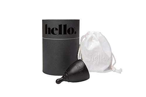 The Hello Cup Small / Medium Menstrual Cup, BPA Free, Reusable, Hypoallergenic, Recyclable, Medical Grade TPE, No Silicone, No Rubber, No Latex, Long Lasting, Smooth & Comfortable, S / M 1 ct. Black