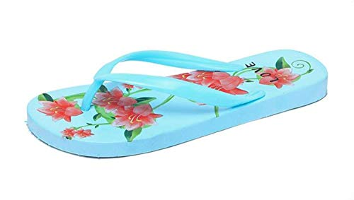 NOLOGO Impreso Beach Flip-Flops Sandalias-Ligeros, Mejor for el Verano de la Playa Vacaciones Viajes Plataforma Ocasional de Moda Zapatillas Abrir-Punt (Color : Blue, Size : 37)