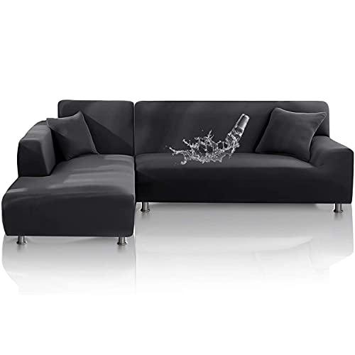 TOPOWN Funda para sofá Chaise Longue Impermeable, Funda para Sofa en Forma L, Funda Chaise Longue Derecho/Izquierdo de 3 Asientos + 3 Asientos, con 2 Fundas de cojín, Gris Oscuro…